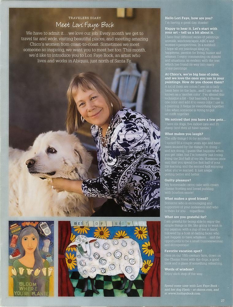 Lori Faye Bock in Chicos Catalogue : Santa Fe Travelers Diary